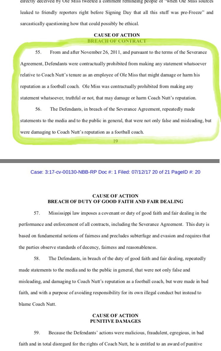 Houston Nutt lawsuit points